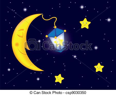 Moonlight clipart Night of with Vector cartoon