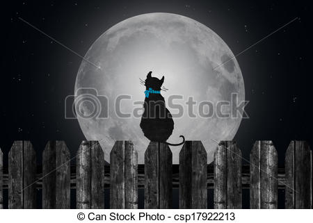 Moonlight clipart tree Moon with cat Clipart on