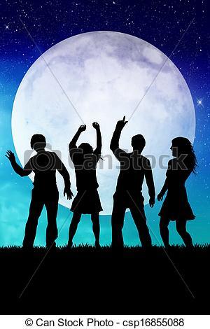Moonlight clipart full moon Moon party of Stock Illustration
