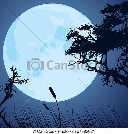 Moonlight clipart tree Branches and and Vector silhouettes