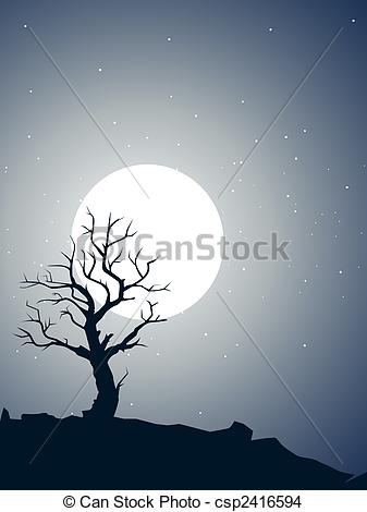 Moonlight clipart tree Tree Clip csp2416594 shilouette Drawing