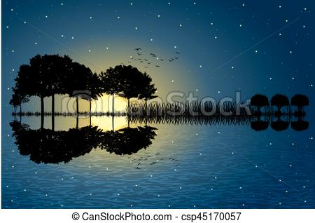 Moonlight clipart tree In a arranged background in