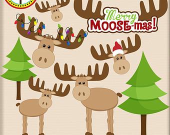 Moose clipart santa #7