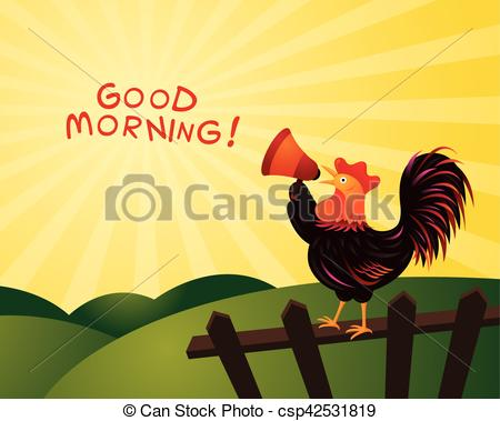 Morning clipart fence Of and Rooster Fence Crowing
