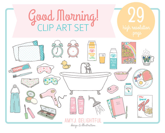Morning clipart morning routine CLIP drawn Good commercial bath