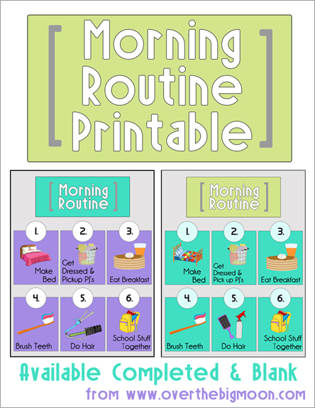 Morning clipart morning routine  Printables Routine Morning