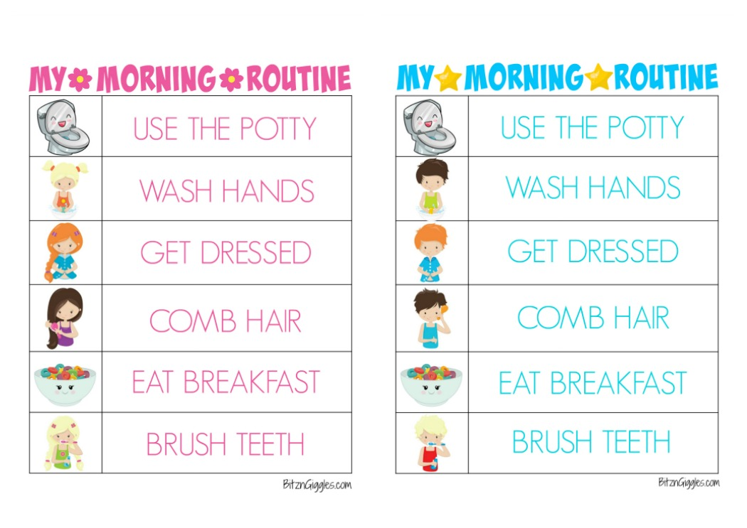 Morning clipart morning routine  Routine Giggles Morning Bitz