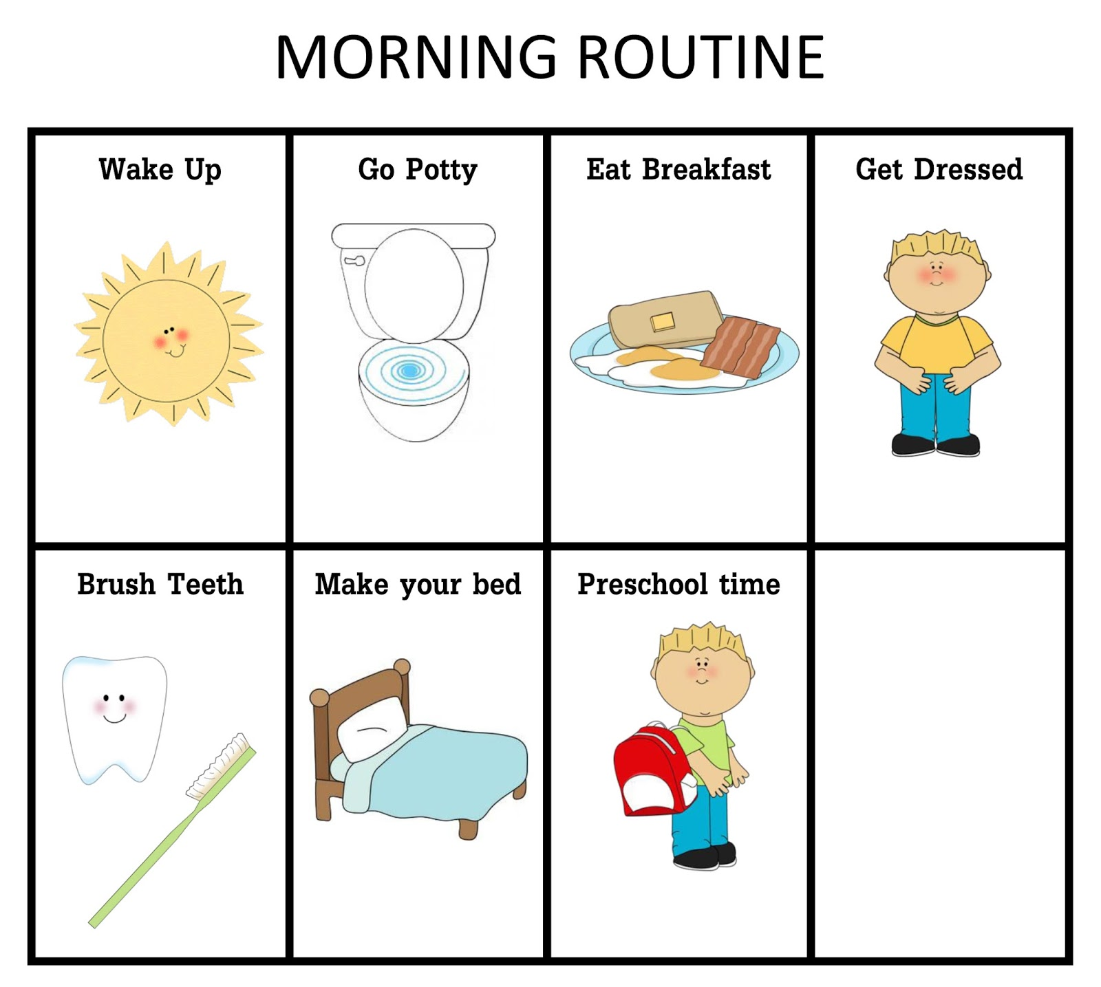 Morning clipart morning routine Ourhomecreations: Clip information Routine Free