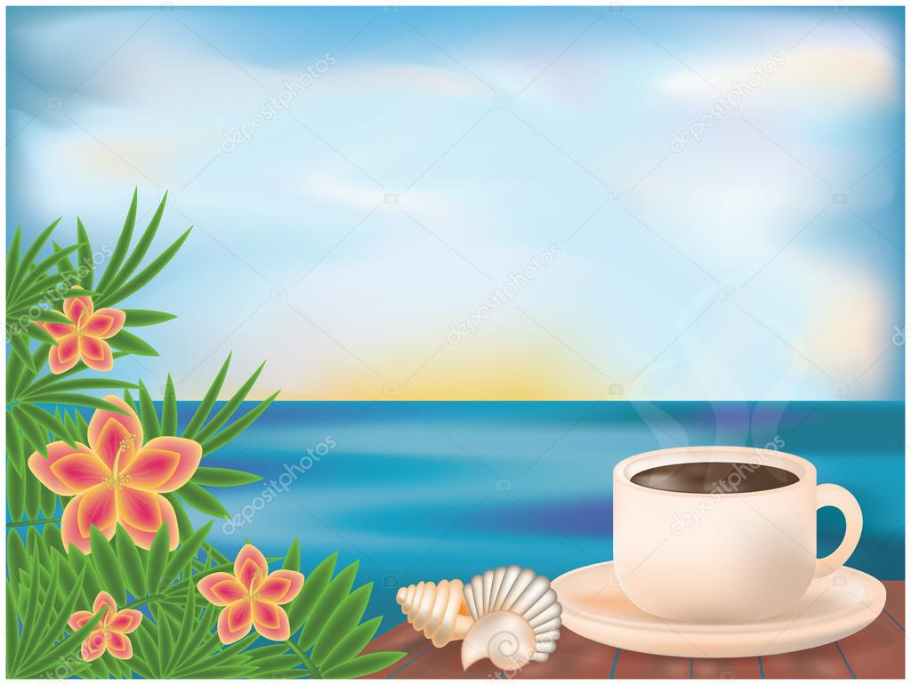 Morning clipart summer Vector — vector with card