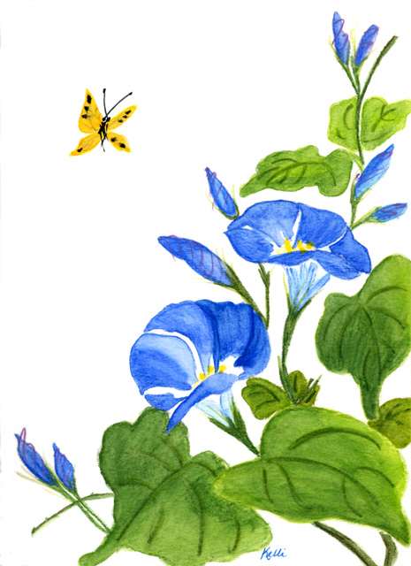 Morning Glory clipart watercolor #3
