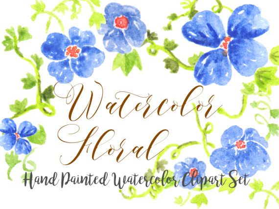 Morning Glory clipart watercolor #5