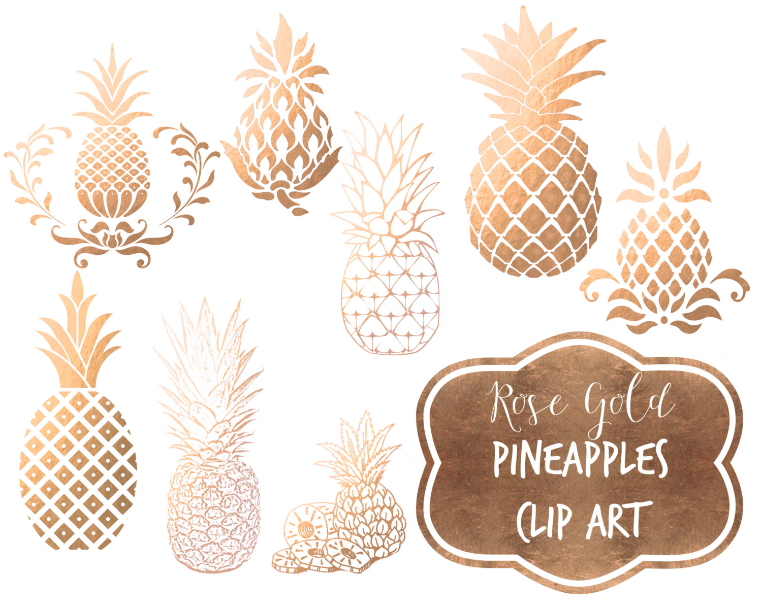 Pineapple clipart rose apple Gold faux digital Instant Instant