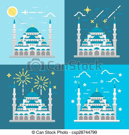 Mosque clipart frame Istanbul design Turkey Flat