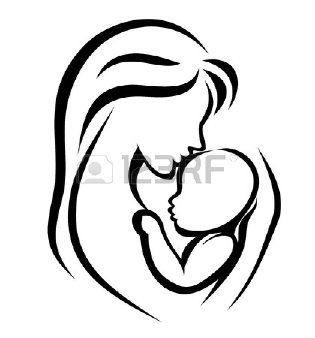 Mother And Baby clipart line art Clipart Mother Baby Free Panda