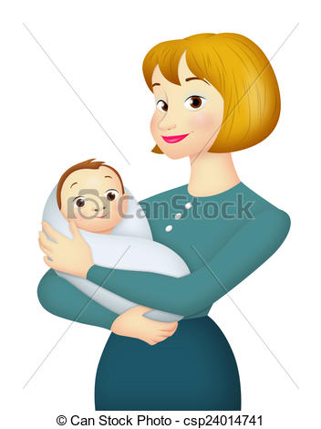 Mother And Baby clipart baby illustration Mother of her With Mother