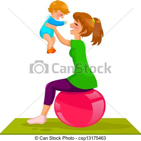 Mother And Baby clipart baby illustration Vector Art playing mother Vector