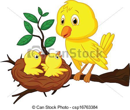 Bird clipart mother and baby Illustration cartoon Vector of cartoon