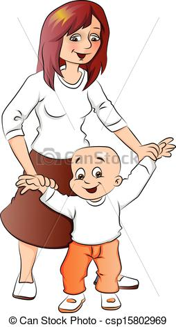 Mother And Baby clipart boy Of baby Vector to walk
