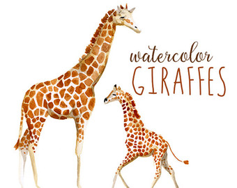 Mother And Baby clipart giraffe Wild Etsy African Africa Art