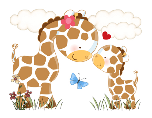 Mother And Baby clipart giraffe Mural nursery Decal decor boy