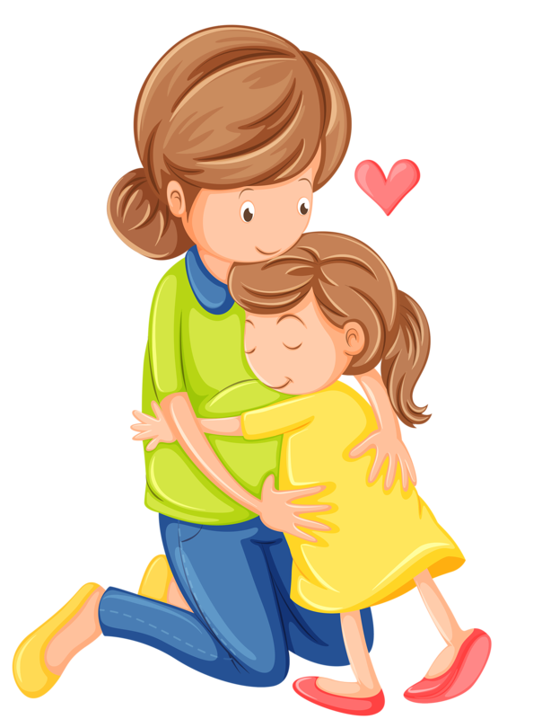 Mommy clipart mother daughter Kids father hugging and hugging