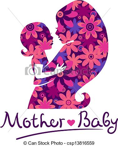 Mother And Baby clipart line art Csp13816559 Mother and  silhouettes