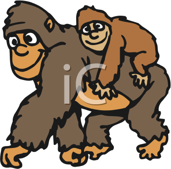 Mother And Baby clipart monkey Clip Clipart Free 350x345 Primate