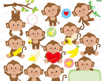 Mother And Baby clipart monkey Monkey clipart Clipart Etsy Monkey