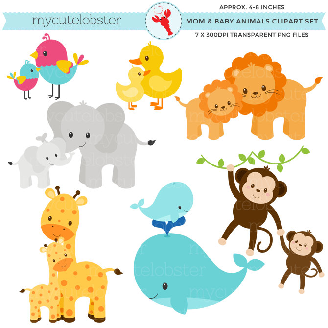 Mommy clipart baby animal Clipart baby and and animal