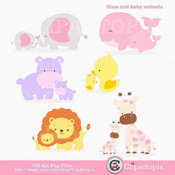 Mommy clipart baby elephant Giraffe commercial art Clip /