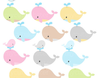 Mother And Baby clipart whale Clipart whale Whales pastel clip