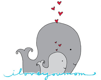 Mother And Baby clipart whale And And Mom w Mom