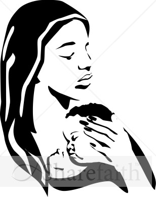 Mother And Baby clipart woman child Clipart Sleeping Holding BW Mother