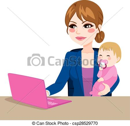 Mother And Baby clipart working mother Of  Vector Mother Focused
