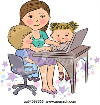 Mother And Baby clipart working mother Work  Vector Busy Alphabet
