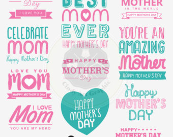 Mother's Day clipart celebration Etsy day Mother's digital Mothers