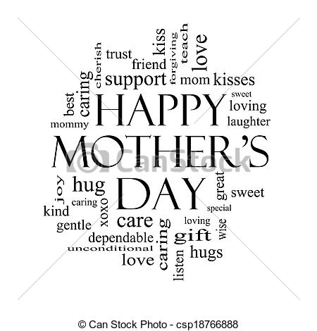 Mother's Day clipart gentle Word in white Pictures and