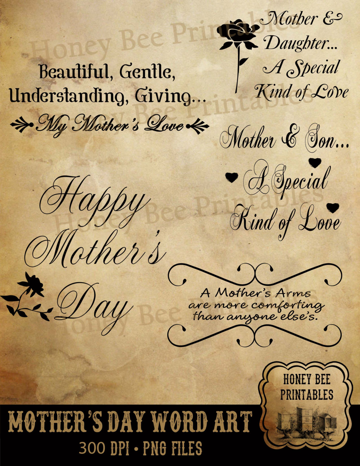 Mother's Day clipart gentle Digital Day Word Clip a