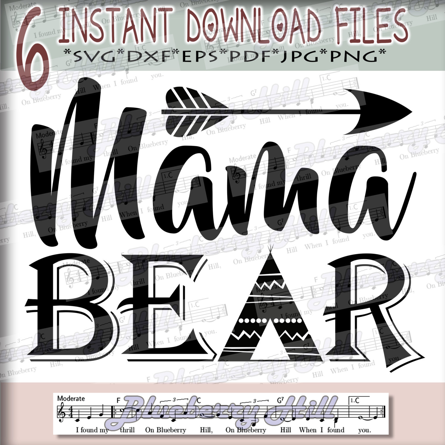 Mother's Day clipart mama bear SVG with Arrow with Day