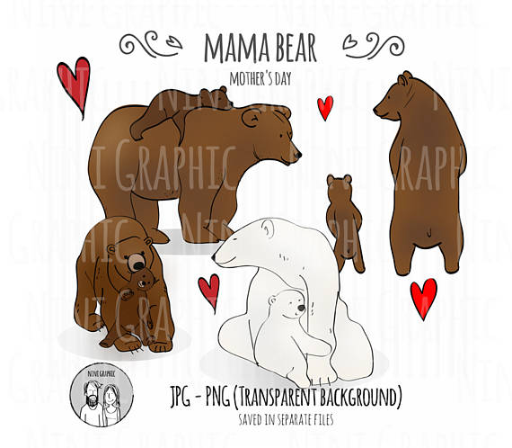 Mother's Day clipart mama bear Card collection downloadMothers days day