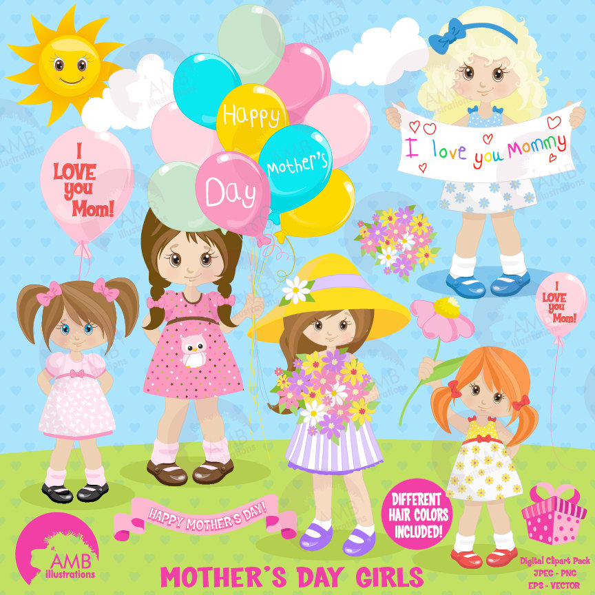 Mother's Day clipart mom kid 1277 kids Mothers holding clipart