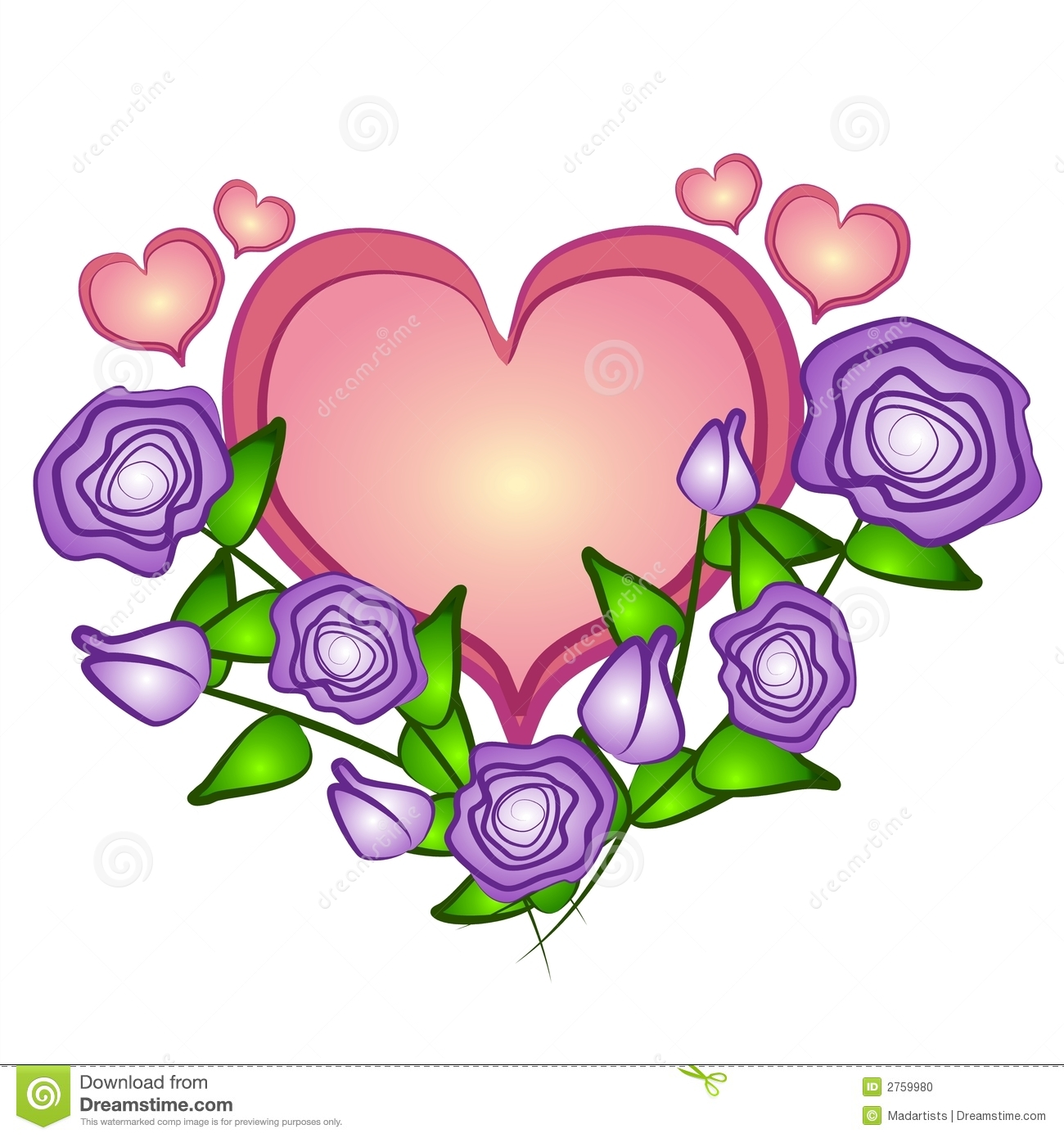 Pink Rose clipart pink heart  day Large clipart mothers