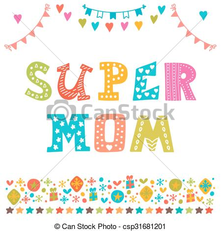 Mother's Day clipart super mom Greeting Day funny draw background