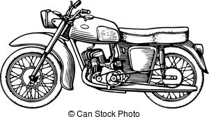 Honda clipart black and white Illustrations  946 Motorcycle Motorcycle