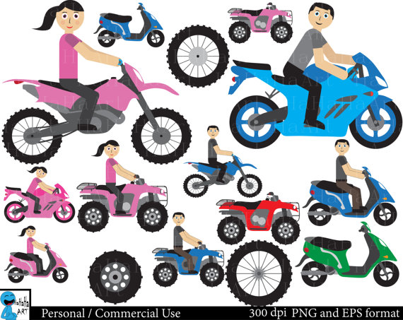 Motorcycle clipart atv Art Commercial Set ATV Motorcycle