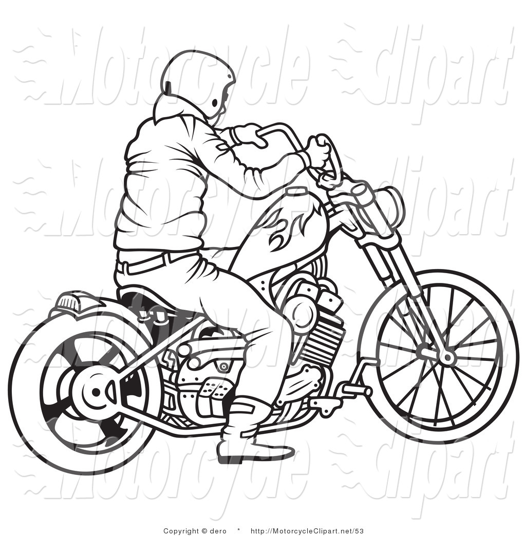 Drawn biker black & white #1