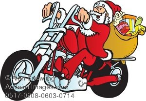 Biker clipart santa Motorcycle of Riding Clipart Illustration