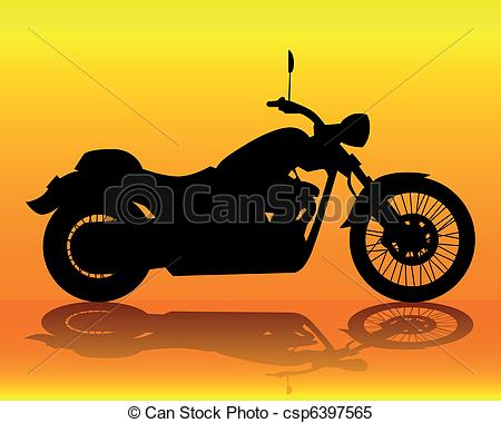 Motorcycle clipart orange Old orange Vector Clipart an