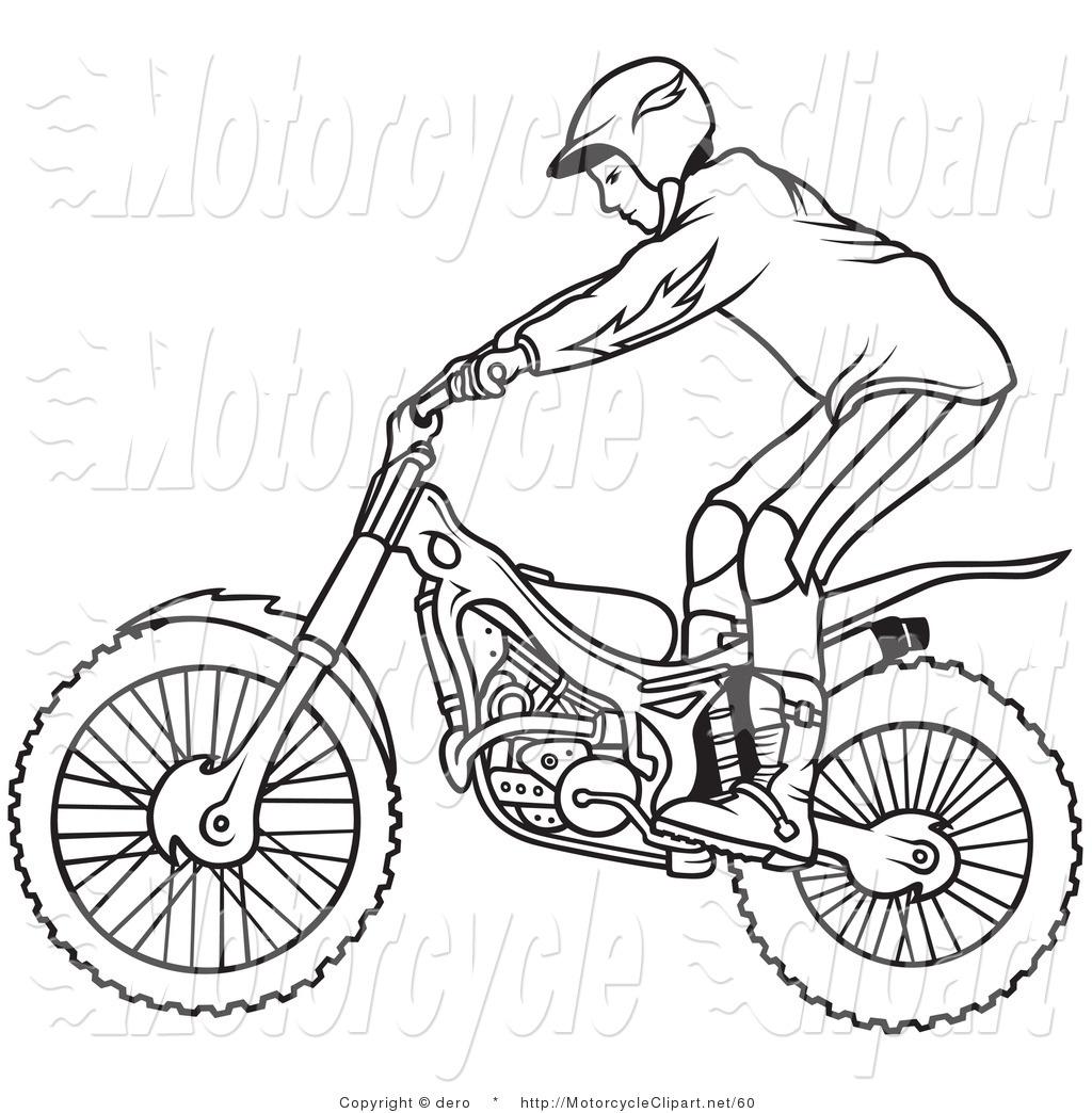Drawn biker black & white #2