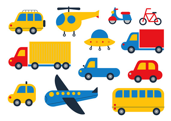 Bike clipart transportation vehicle Transport Cute Plane Car Bicycle
